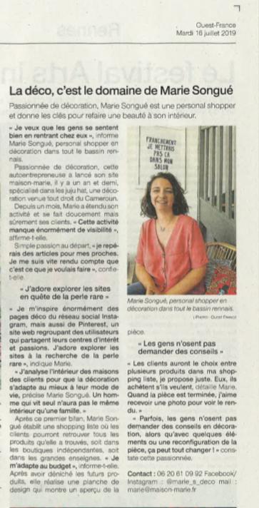 Ouest France Juillet 2019